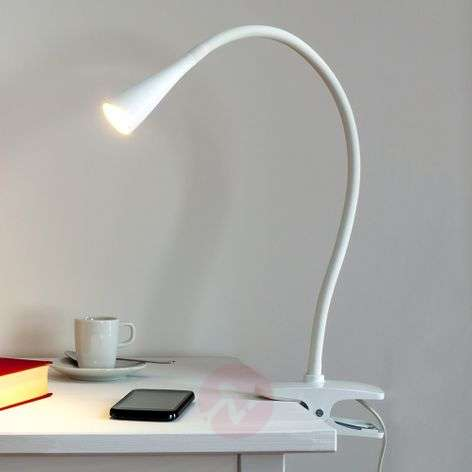 Baris, Narrow LED Clip-on Lamp in White-9643006-31