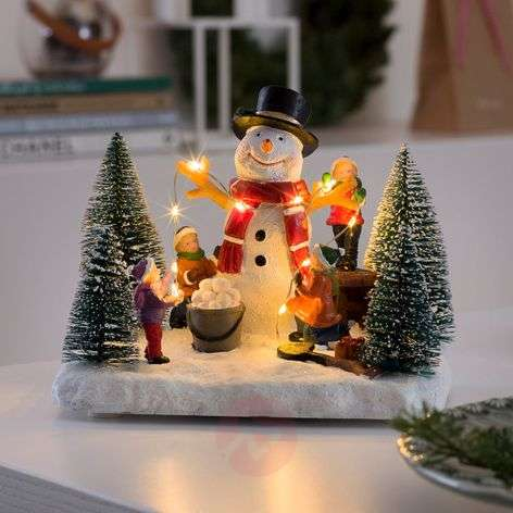 Battery-powered - LED scene Snowman with Children