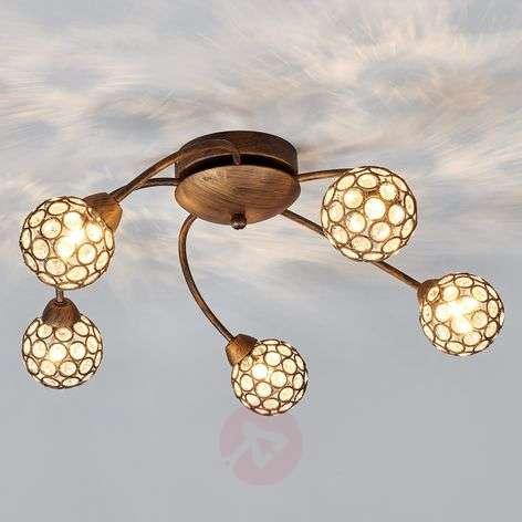 Beautiful ceiling lamp Quinn in rust brown