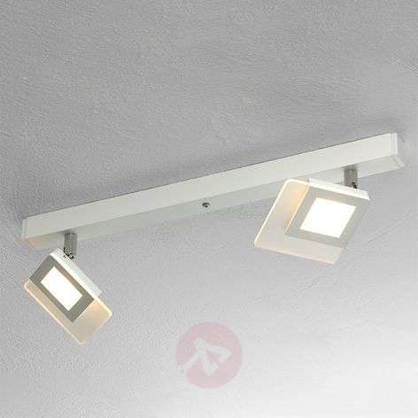 Beautiful LED ceiling lamp Line in white, two-bulb