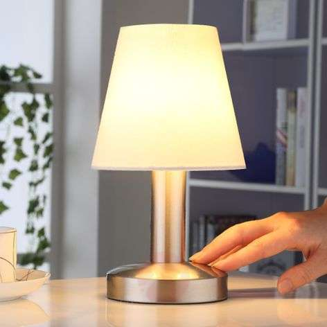 Bedside table lamp Hanno w. white fabric lampshade