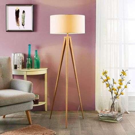 Benik - floor lamp with wood-coloured tripod frame