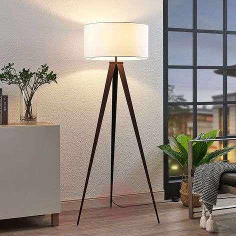 Benik tripod floor lamp, white lampshade, walnut