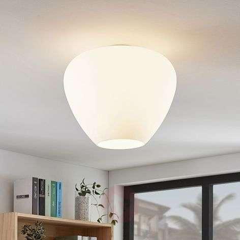Bibiane glass ceiling lamp, opal white