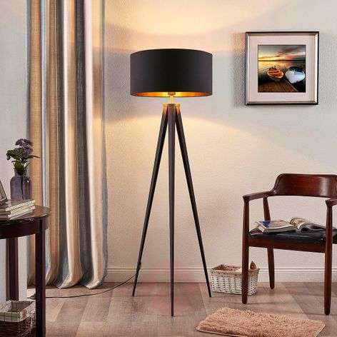 Black and gold floor lamp Benik in a tripod look