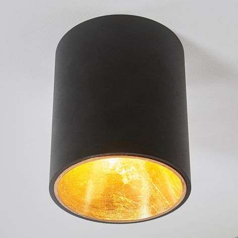 Black and gold LED ceiling lamp Juma, round