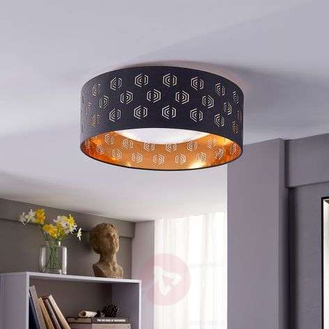 Black and gold LED ceiling lamp Marsel, fabric-9620941-32