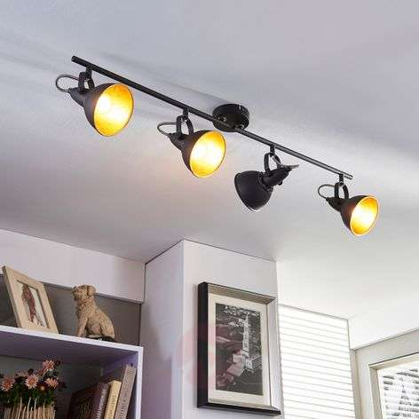 Black and golden kitchen spotlight Julin, 4 bulbs-9620732-33