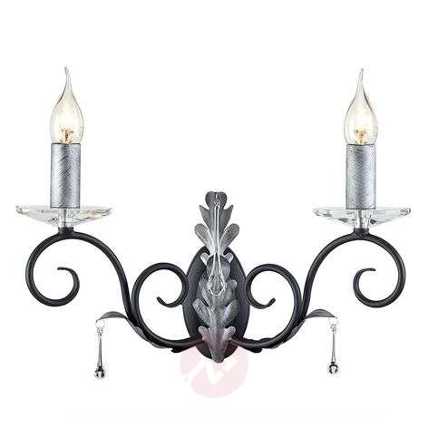 Black and silver painted wall lamp Amarilli