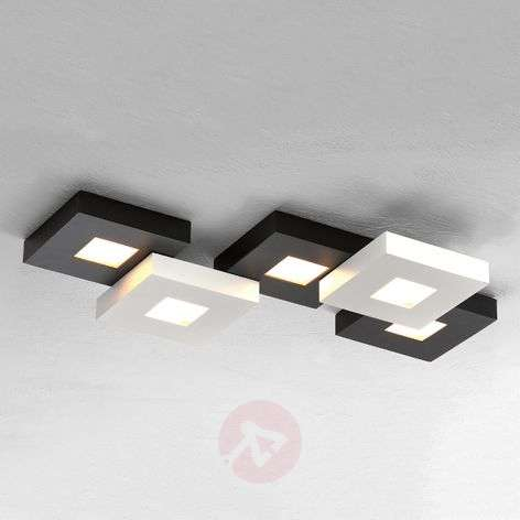 Black and white LED ceiling lamp Cubus, five-bulb