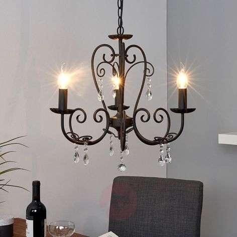 Black chandelier Sophina, 3-bulb