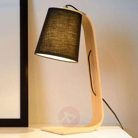 Black fabric shade - Nordic wood table lamp