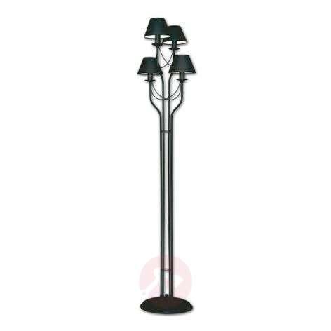 Black floor lamp Bona with four fabric lampshades