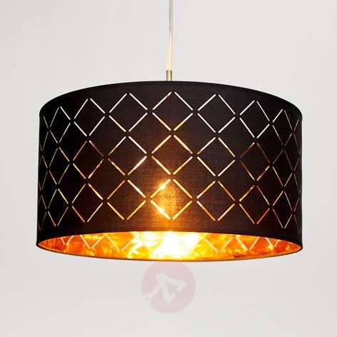 Black-gold pendant lamp Julita, round