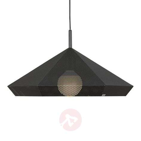 Black hanging lamp Priamo perforated pattern, 48cm