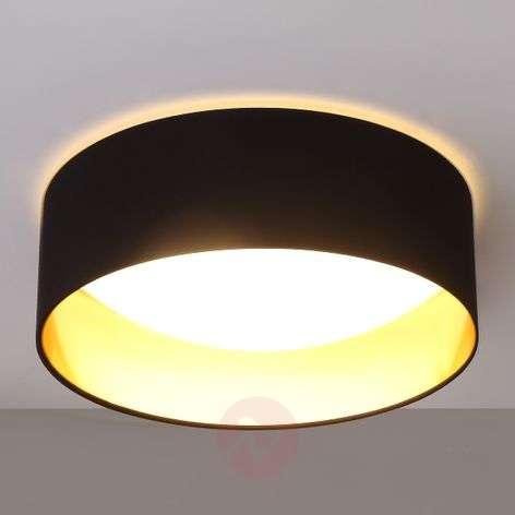 Black LED ceiling light Coleen, gold inside