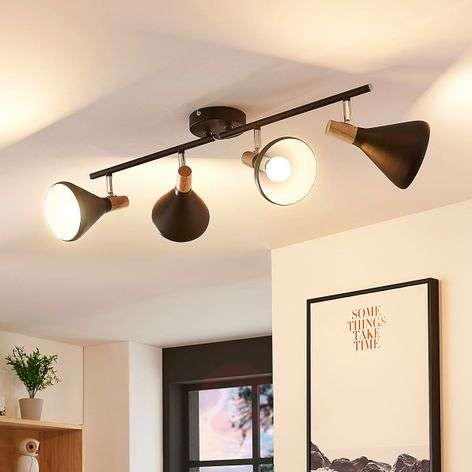 Black LED ceiling spot Arina with wooden details