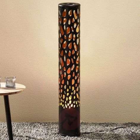 Black LED floor lamp Organic with flame bulb