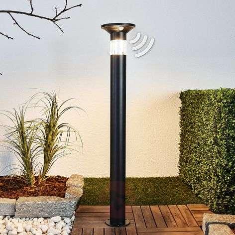 Black LED path light Jalisa, solar-powered