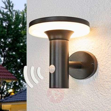 Black LED solar wall light Eliano, sensor