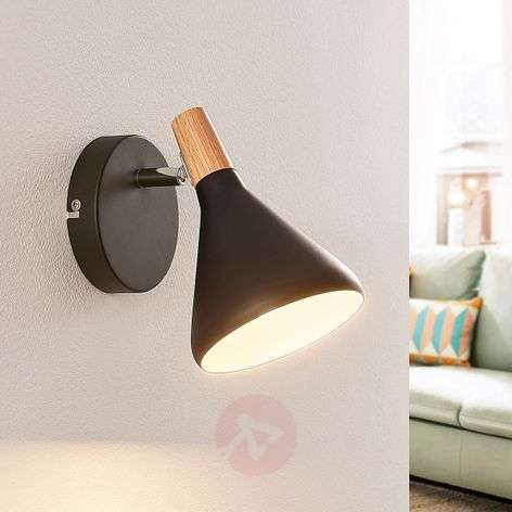 Black LED wall lamp Arina with wood