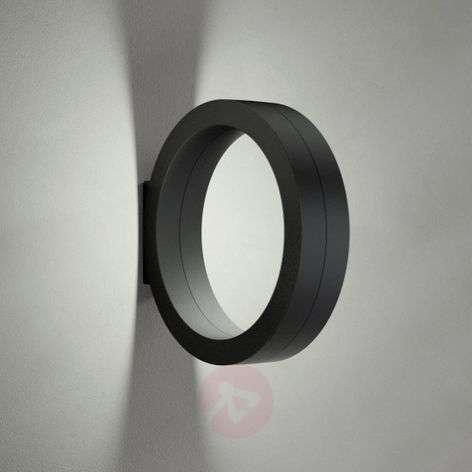 Black LED wall lamp Assolo, ring shape