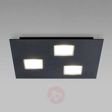 Black painted Quarter LED ceiling lamp, three-bulb