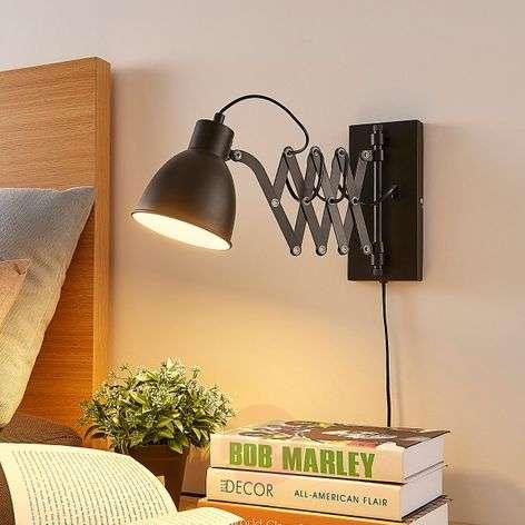 Black wall lamp Merle with scissor arm