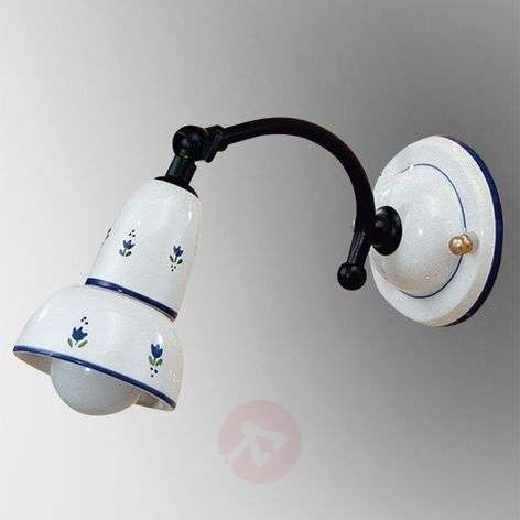 Blue-patterned wall light Ella, movable spotlight