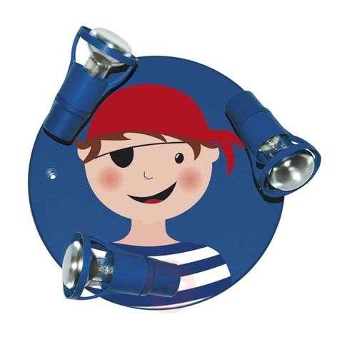 Blue Pirate ceiling light with 3 bulbs