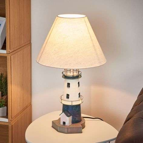 Blue-striped lighthouse table lamp Piet