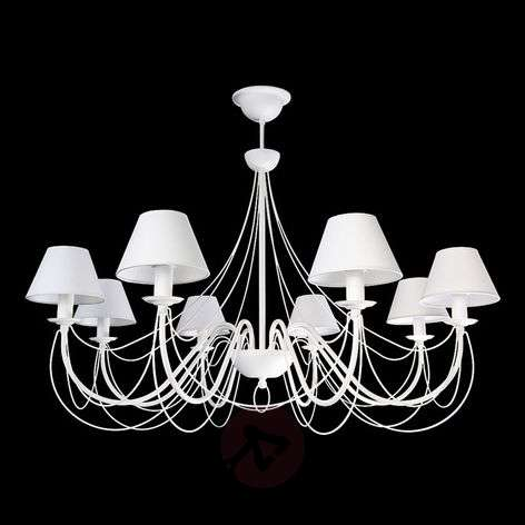 Bona - white chandelier with fabric lampshades