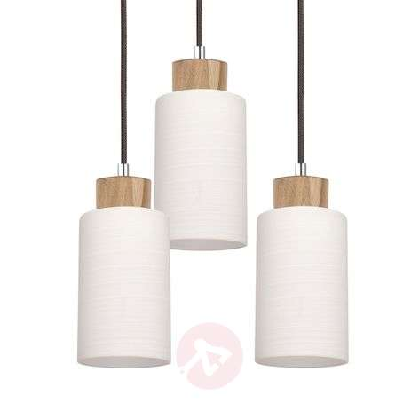 Bosco round hanging light, oiled oak, 3-bulb