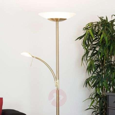 Brass-col. LED floor lamp Ilinca w. reading light