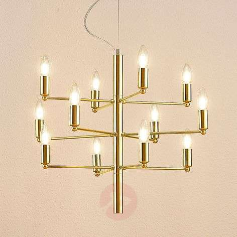 Brass-coloured chandelier Tadina, twelve-bulb