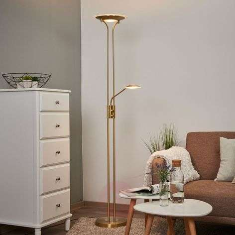 Brass-coloured LED floor lamp Aras, reading light