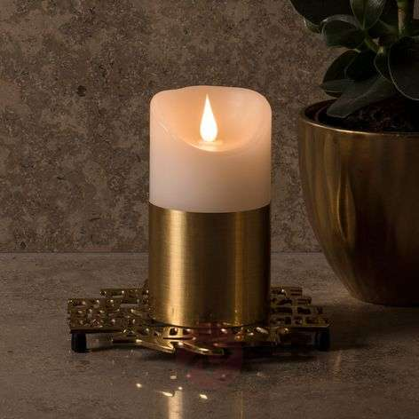 Brass-coloured sleeve LED wax candle-5524855X-31