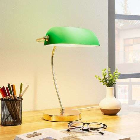 Brass-coloured table lamp Selea, green glass shade