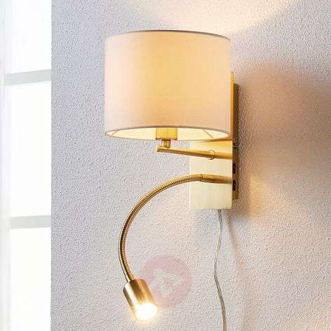 Brass-coloured wall lamp Florens LED reading light