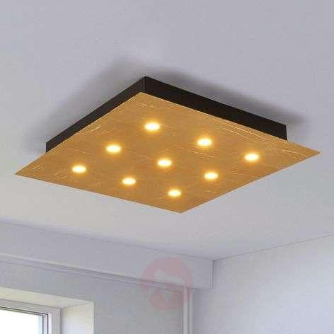Bright LED ceiling light Juri, gold finish