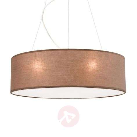 Brown pendant light Ufo with a linen lampshade