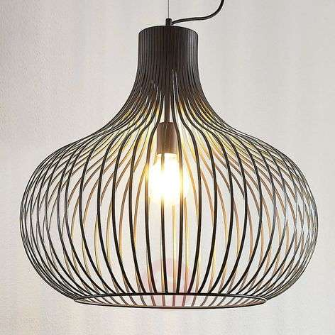 Cage pendant light Frances, brown, 1-bulb Ø 60 cm