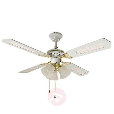 CALICE ceiling fan, 3-bulb - white