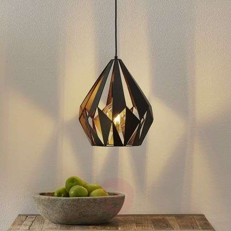 Callum Eye-catching Pendant Lamp, Black and Copper