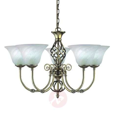 Cameroon colonial style chandelier, five-bulb