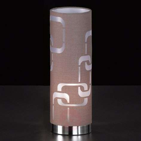 Cappuccino-coloured textile table lamp Seventies-4580934-31