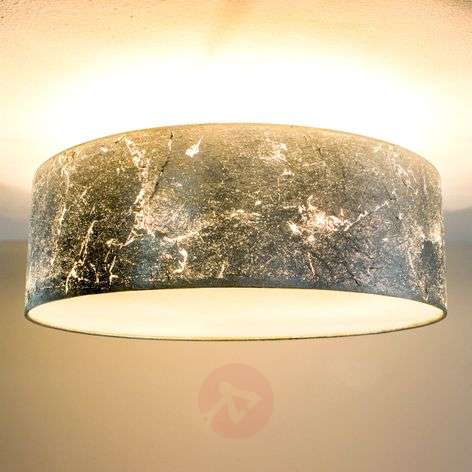 Ceiling lamp Aura, coated with silver metal leaf