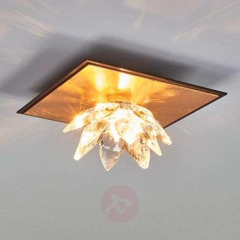 Ceiling light Fiore with gold leaf and crystal-5505542-31