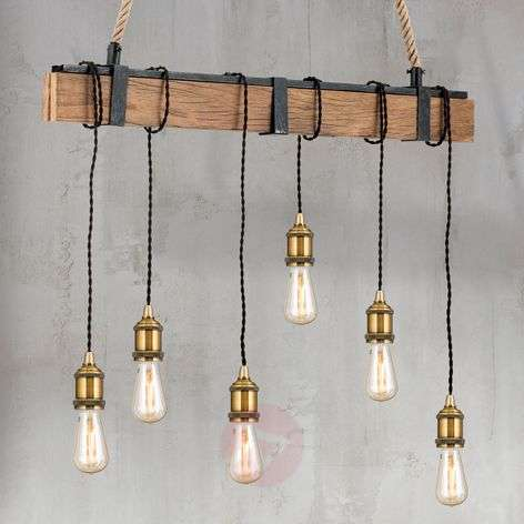 Cellar linear pendant light hemp suspension 6-bulb