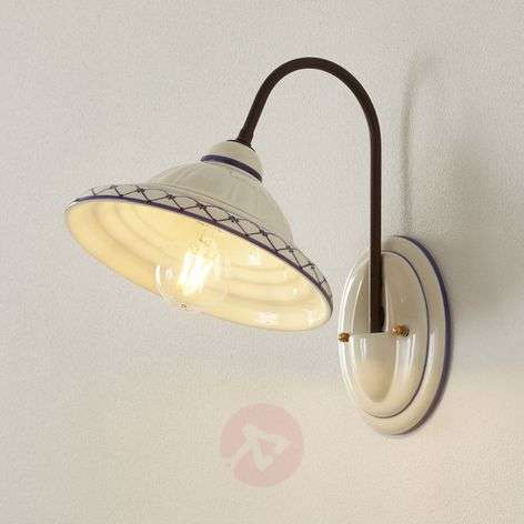 Ceramic wall light Firenze with burnished arm